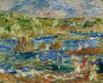 Tablou canvas Renoir - children on the beach at guernsey,1883