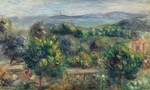 tablou renoir - landscape with trees in yellow, 1900