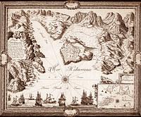 tablou harta veche porto longone (porto azzurro)